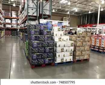 FOLSOM, CALIFORNIA, USA - OCT 3, 2017: Costco wholesale warehouse shopping aisle for alcohol and beverages,  a members only club.