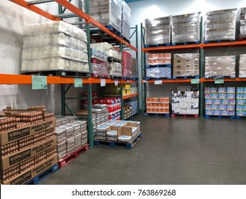 FOLSOM, CALIFORNIA, USA - OCT 3, 2017: Costco wholesale warehouse shopping aisle for milk and eggs, a members only club.
