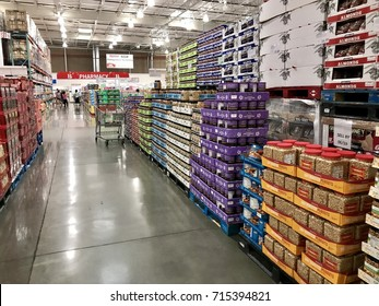 FOLSOM, USA - AUG 2, 2017: Costco Wholesale  Warehouse Dried Fruit & Nuts area. Store with wholesale prices.