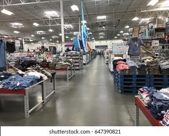 FOLSOM, USA - MAY 25, 2017: Sam's Club Walmart wholesale superstore, shopping aisle inside  warehouse