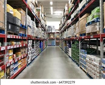 FOLSOM, USA - MAY 25, 2017: Sam's Club Walmart wholesale superstore, shopping isles inside  warehouse