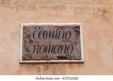 Fomentera: the sign of Camino Romano on September 10, 2010. The Camino Romano, or Cami de Sa Pujada, is an ancient Roman road which lead trough a beautiful landscape from Es Calo to La Mola