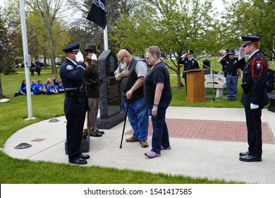 Fond du Lac, Wisconsin / USA - May 15th, 2019: Fond du Lac, Wisconsin held their memorial ceremony of fallen officers from Local Police, Firefighters, and State Police officers that lived in the area