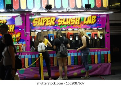 Fond du Lac, Wisconsin / USA - July 21st, 2019: Nightlife at Fond du Lac County Fair. Many of the community came out to enjoy much of the fun that happened during the summer