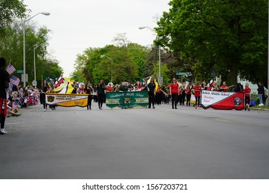 Fond du Lac, Wisconsin / USA - May 27th, 2019: Fond du Lac Middle school Musical marching bands participate in 2019 Fond du Lac Memorial Parade.