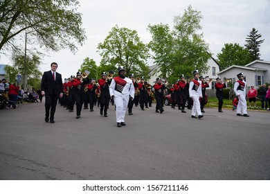 Fond du Lac, Wisconsin / USA - May 27th, 2019: Fond du Lac Cardinals High School Musical Marching Band marched in the 2019 Fond du Lac Memorial Parade.