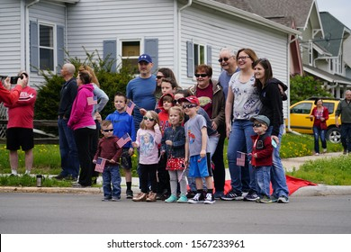 Fond du Lac, Wisconsin / USA - May 27th, 2019: Community members of Fond du Lac came out to spectate 2019 Fond du Lac Memorial Parade.