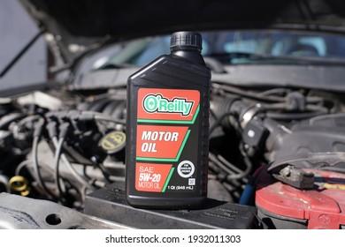 Fond du Lac, Wisconsin USA - March 6th, 2021: O'Reilly SEA 5w-20 motor oil for 2002 Ford Taurus.
