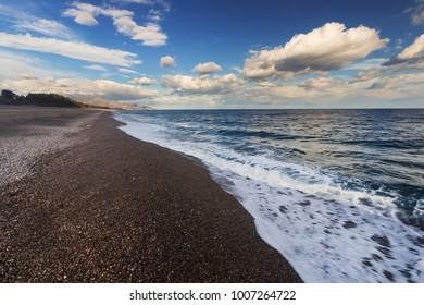 Fondachello beach in Sicily, Italy
