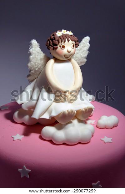 Miraculous Fondant Angel Cake Decoration Stock Photo Edit Now 250077259 Birthday Cards Printable Nowaargucafe Filternl