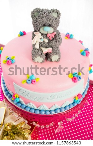 Fondant Covered Cake With Teddy Bear Topper Holding Rabbit Birthday