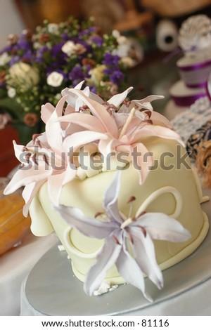 Fondant Wedding Cake Lily Decoration Stock Photo Edit Now 81116