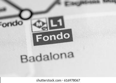 Fondo Station. Barcelona Metro map.