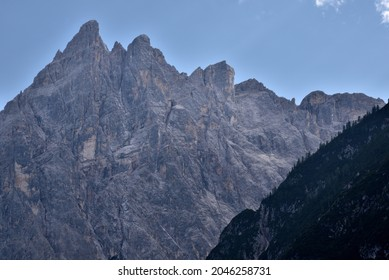 From the Fondovalle refuge in Val Fiscalina view of the peaks of Cima Una, 2699 meters high
