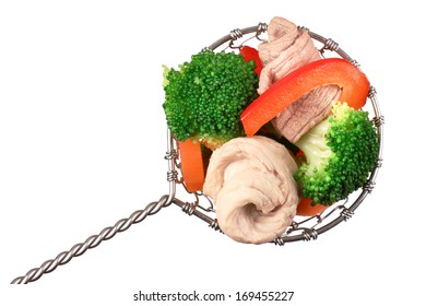 Fondue with meat and vegetables