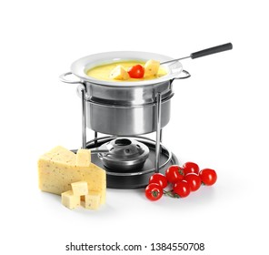 Fondue pot with melted cheese and tomatoes on white background