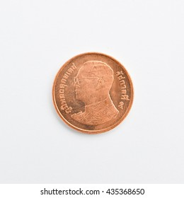 Font of 0.50 Baht Thai Coin Money. Thai Coin Money on White background.