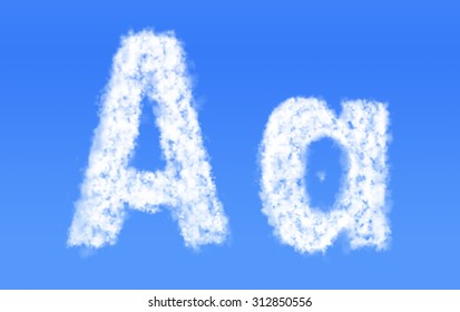 A a font clouds,English alphabet from clouds