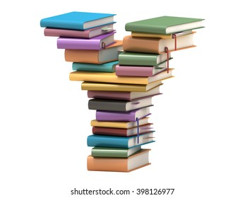 font design of the books 3D rendering
