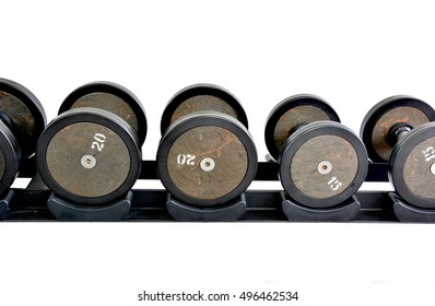 font of dumbbells with white background