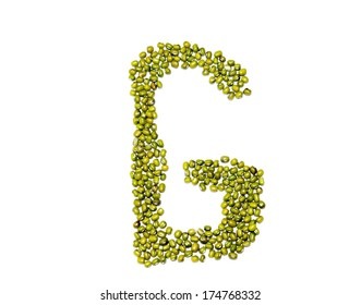font green beans isolated from white background.