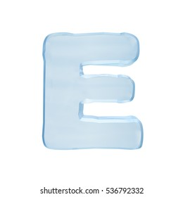 Font of ice. Isolated ice letter E on a white background. 3D illustration of the frozen character E uppercase