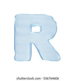 Font of ice. Isolated ice letter R on a white background. 3D illustration of the frozen character R uppercase