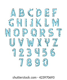 Font in line flat style modern decorative. Conceptual alphabet. Geometric letters of sign. Techno style. Cryptography
