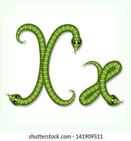 Font made from green snake. Letter X. Raster version. Vector is also available in my gallery