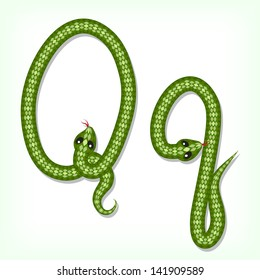 Font made from green snake. Letter Q. Raster version. Vector is also available in my gallery