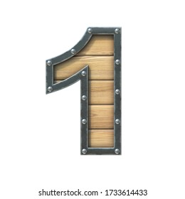 Font made of wooden board with metal frame and rivets, 3d rendering number 1