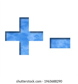 Font on blue sky.  Plus and minus signs cut out of paper on a background of a bright blue sky with light clouds. Set of decorative natural fonts