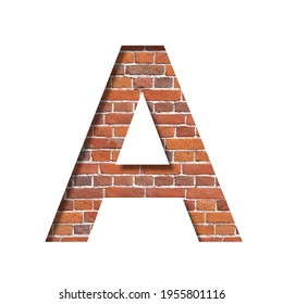 Font on brick texture. Letter A, cut out of paper on a background of real brick wall. Volumetric white fonts set.