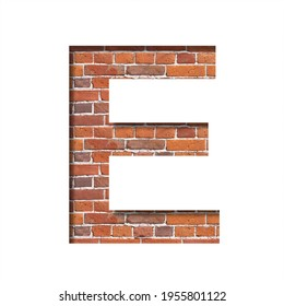 Font on brick texture. Letter E, cut out of paper on a background of real brick wall. Volumetric white fonts set.