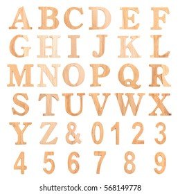 Font Wood alphabet letter and number Font Isolated on white background, clipping path