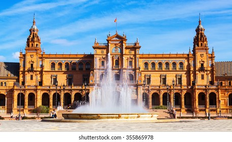 Fontain at Plaza de Espana in  day time. Seville, Spai