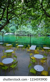 Fontaine de Vaucluse, France - July 13, 2018: Cafe in Fontaine de Vaucluse village on the river bank in Provence, France