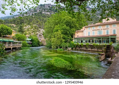 Fontaine de Vaucluse, Provence, Luberon, Vaucluse/France - 05 31 2017: On the banks of the Sorgue and in the village are numerous restaurants, cafes and shops