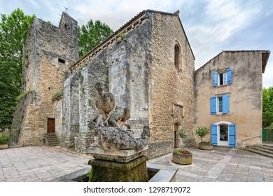 Fontaine de Vaucluse, Provence, Luberon, Vaucluse/France - 05 31 2017:   Notre Dame de Saint Véran church in Fontaine de Vaucluse