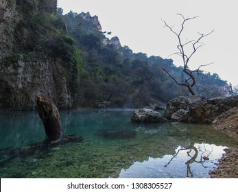 Fontaine de Vaucluse: a spring in a valley at the foot of the Vaucluse Mountains, between Saumane and Lagnes, Provence France