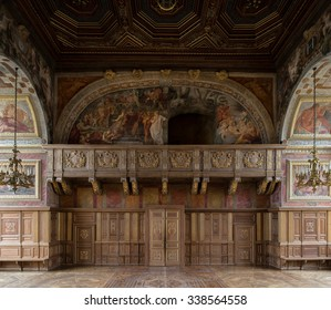 Fontainebleau, France - 16 August 2015 : Interior view of the Fontainebleau Palace ( Chateau de Fontainebleau ). It was added to the UNESCO list of World Heritage Sites.