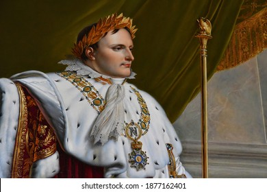 Fontainebleau, France - august 21 2020 : portrait of Napoleon in the historical castle