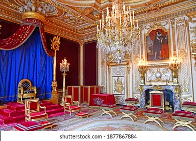 Fontainebleau, France - august 21 2020 : the Throne room in the historical castle