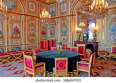 Fontainebleau, France - august 21 2020 : the council chamber in the historical castle