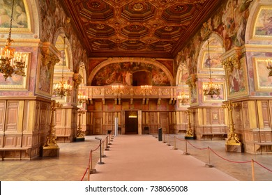 Fontainebleau, France - july 21 2017 : ballroom in the historical castle