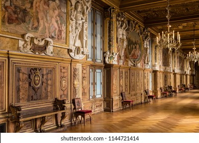 Fontainebleau, France - June 18, 2018: Grand room in Château de Fontainebleau which used to be a royal chateau, now a national museum and a UNESCO World Heritage Site.
