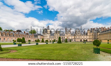 Fontainebleau, France - June 18, 2018: Château de Fontainebleau was one of the largest royal Château in France since the 12th Century. It is now a national museum and a UNESCO World Heritage Site.