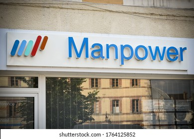 FONTAINEBLEAU - FRANCE - JUNE 2020:  manpower signboard which is a famous temping company