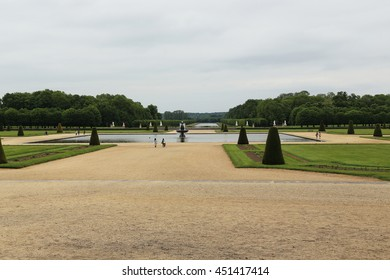 FONTAINEBLEAU, FRANCE - MAY 16, 2015: This is one of the parks of the palace of Fontainebleau, which is called the Great Parterre.