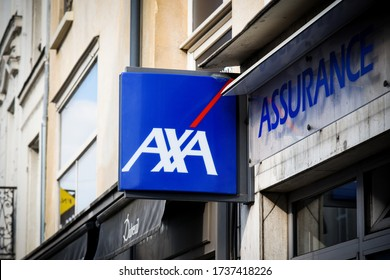 FONTAINEBLEAU - FRANCE - MAY 2020: Axa signboard which is a famous french insurance company